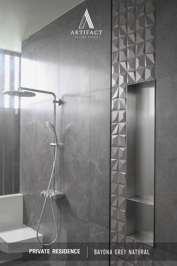 private residence กระเบื้องพอร์ซเลนนำเข้าและผลิตจากสเปน Baldocer Bayona Grey Natural สีเทา